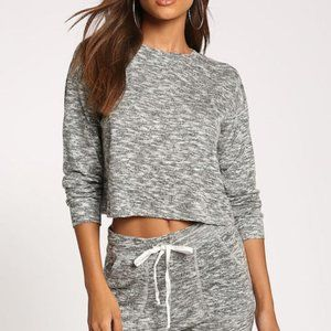 LEITH Marled Grey Cropped Boxy Sweater
